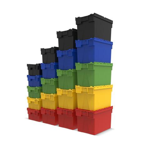 Mehrweg-Stapelbehälter aus Polypropylen mit Klappdeckel