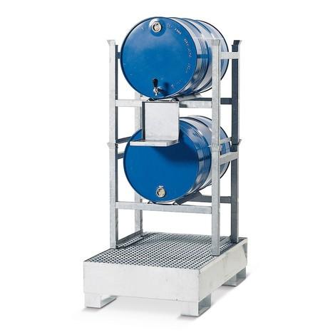 Regalbodenwanne asecos® aus Stahl, für Fassregale, unterfahrbar