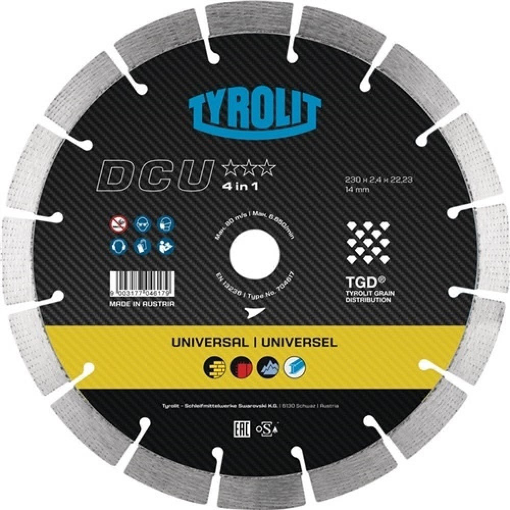 TYROLIT Diamanttrennscheibe Premium, D. 230 mm, für universelle Baumaterialien