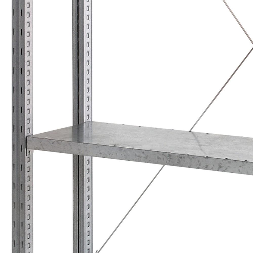 Shelf for shelving, with steel panel shelves
